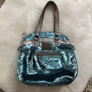 Coach Poppy Blue Sequined Shoulder Bag